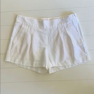 J. Crew White Linen Blend Pleated Shorts